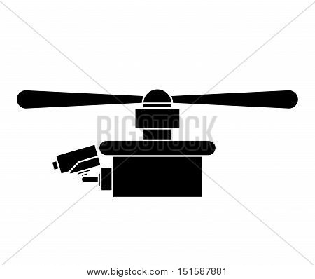 silhouette drone with one airscrew vector illustration