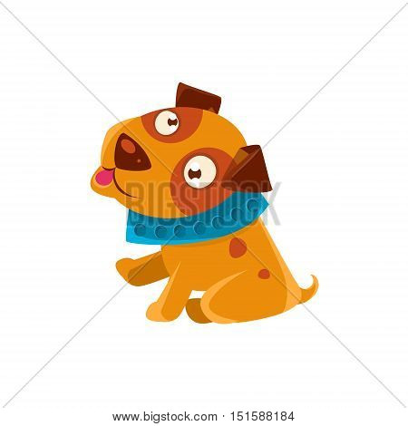 Silly Puppy With The Blue Collar Ready To Go For A Walk. Dog Everyday Activity Childish Drawing Isolated On White Background. Funny Animal Colorful Vector Sticker.