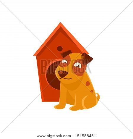 Smiling Puppy Next To Wooden Kennel. Dog Everyday Activity Childish Drawing Isolated On White Background. Funny Animal Colorful Vector Sticker.