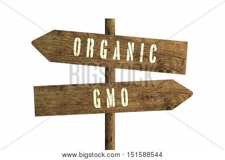Gmo or Organic Farming Wooden Direction Sign isolated on white background.