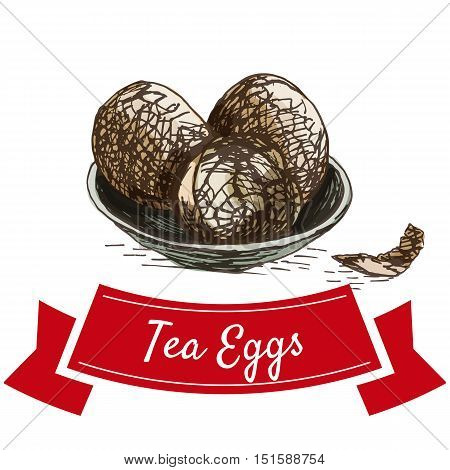 Marbled chinese tea eggs colorful illustration. Vector illustration of Chinese cuisine.