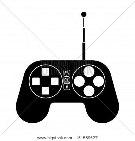 silhouette remote control for drones with antenna vector illustration