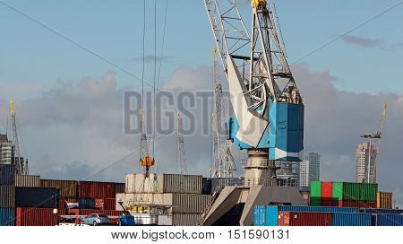 Cargo container ship at the dock. Container shipping. Logistic import export background and transport industry.