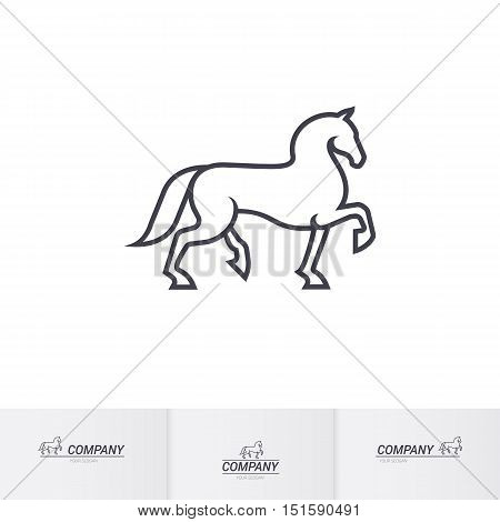 Stylized White Horse for Mascot Logo Template