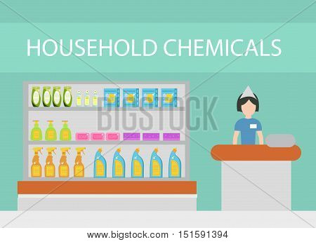 Store household chemicals cleaning agents detergents cosmetics. The department store with household cleaning flat style. Vector illustration