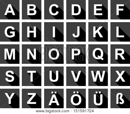 Large iconset of the alphabet with shadows in black and white