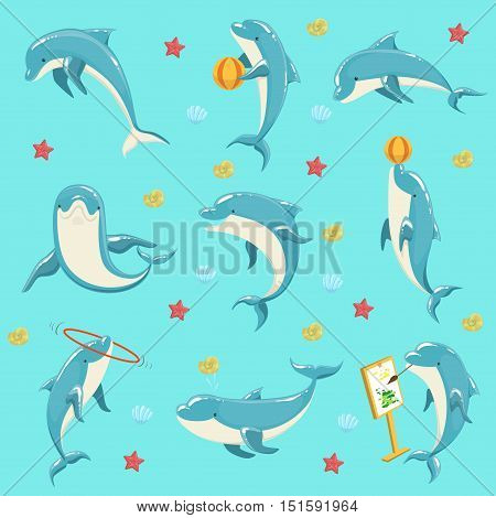 Bottlenose Dolphin Performing Tricks Set of Illustrations. Collection Of Marine Animal Stickers In Simple Realistic Style On Blue Background.