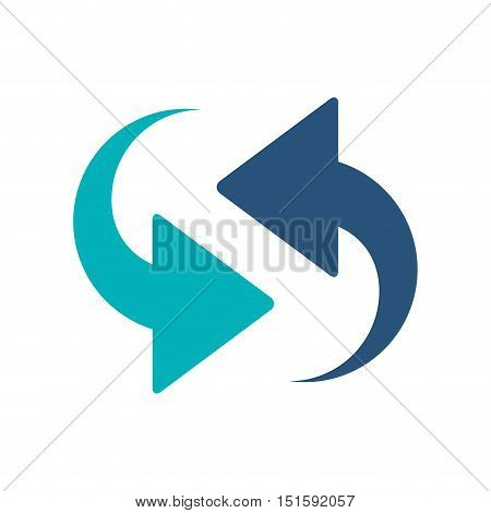 blue arrows in opposite directions vector illustration