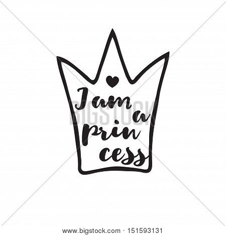 Princess crown with an inscription in hand drawing style. Template for making a stamp.