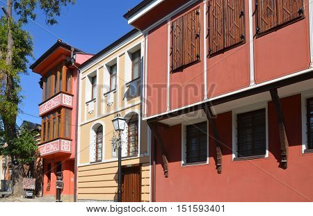 PLOVDIV, BULGARIA 09 21 13: Details architecture of the Bulgarian Revival from the late 1780s to 1878s reflects the general economic political and cultural progress in the life of the Bulgarian people