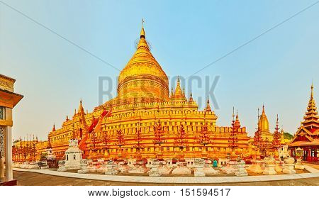 Buddhist pagoda Shwezigon in Bagan. Myanmar. Panorama