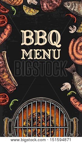 Barbecue grill top view with charcoal, mushroom, tomato, pepper, sausage, lemon, fish and beef steak. Lettered text BBQ MENU. Vintage black vector engraving illustration. Isolated on dark background