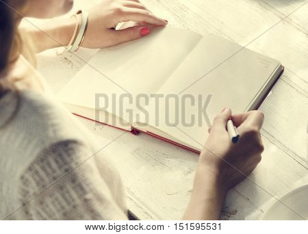 Female Diary Create Journal Concept poster
