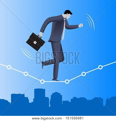 Equilibrium business concept. Confident businessman in business suit with case balancing on dotted graph over the city. Vector illustration. Use as template, logo, background.