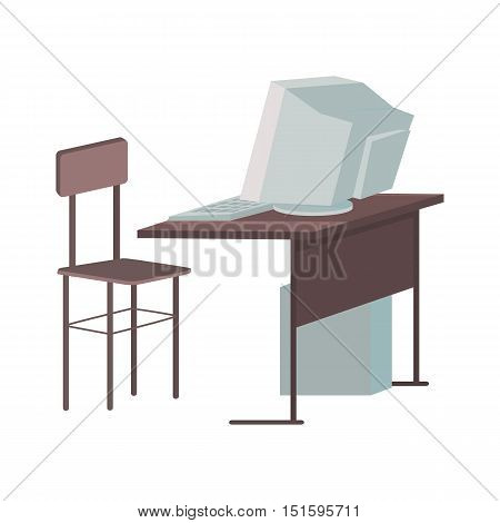School desk with desktop computer in flat design. Classroom element. Desktop PC in classroom. Gray computer monitor with computer system unit. Working place with desktop computer. Vector illustration
