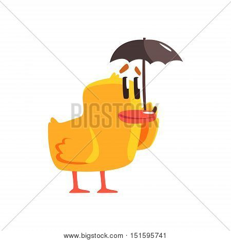 Duckling With Umbrella Cute Character Sticker. Little Duck In Funny Situation Childish Cartoon Graphic Illustration On White Background.
