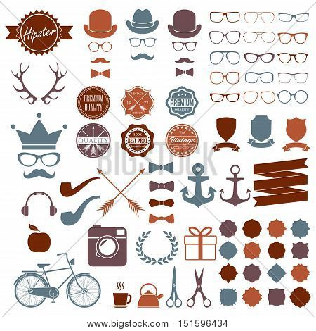 Hipster icons set. Vintage and hipster style signs collection. Retro design infographic elements:  glasses, frames, labels, mustaches, arrows, ribbons. Colorful vector illustration.