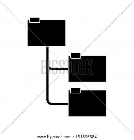 silhouette folders organized in line vector illustration