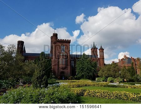 Washington DC, USA, October 2, 2016. The Smithsonian Institution Building known as The Castle, with a view from the landscaped garden.