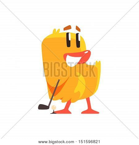 Duckling Playing Golf Cute Character Sticker. Little Duck In Funny Situation Childish Cartoon Graphic Illustration On White Background.