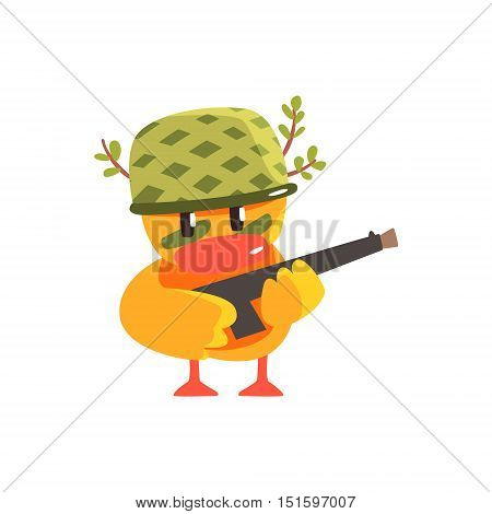 Duckling Soldier Cute Character Sticker. Little Duck In Funny Situation Childish Cartoon Graphic Illustration On White Background.