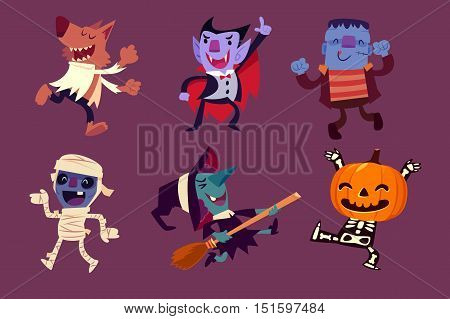 Set of Halloween characters dancing in party