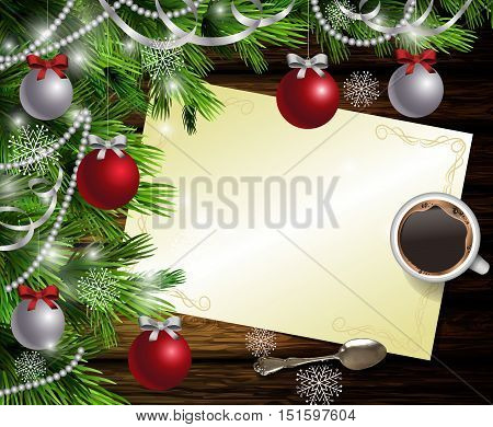Christmas New Year design dark wooden background with christmas tree and silver and red balls and wish list with a cup of coffee and teaspoon