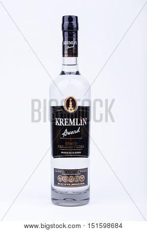 BURGAS, BULGARIA - AUGUST 4, 2016: A bottle of russian vodka Kremlin Award Grand Premium Vodka 0,7 L 40%, illustrative editorial, on white background