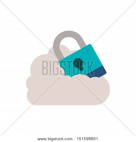 padlock with shackle into the cloud vector illustration
