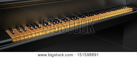 3D rendering of golden piano keyboard with copy space