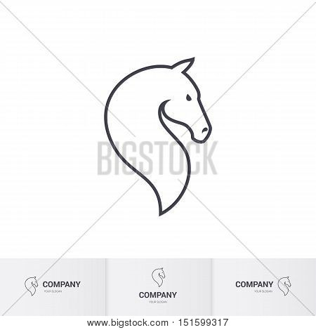 Stylized Horse Head for Mascot Logo Template