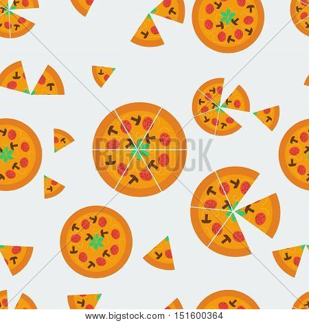 Vector seamless pattern with whole and cut pizzas scattered on a grey background