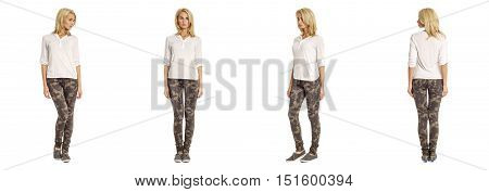 Full Length Portrait Of Beautiful Blonde In White Shirt