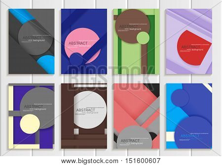 Set stock vector illustration brochure in material design style