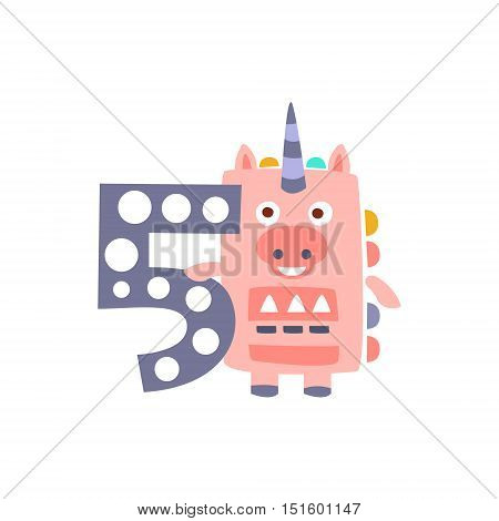Unicorn Standing Next To Number Five Stylized Funky Animal. Weird Colorful Flat Vector Illustration For Kids On White Background,
