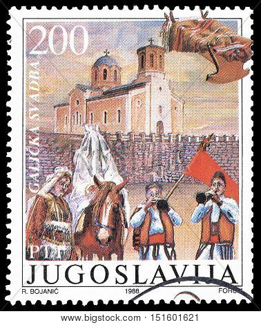 YUGOSLAVIA - CIRCA 1988 : Cancelled postage stamp printed by Yugoslavia, that shows Traditional wedding.