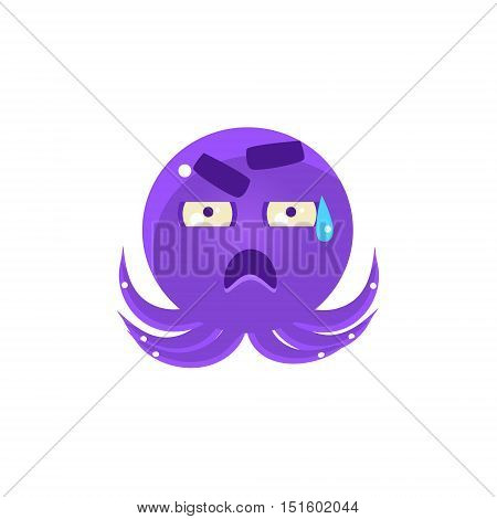 Funny Octopus In Cold Sweat Emoji. Cute Vector Emoticon In Cartoon Childish Style Isolated On White Background.