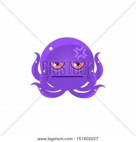 Funny Octopus With Headache Emoji. Cute Vector Emoticon In Cartoon Childish Style Isolated On White Background.