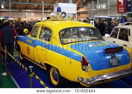 MOSCOW - MAR 07, 2016: Soviet car of Traffic police on exhibition Oldtimer-Gallery in Sokolniki Exhibition Center. It is only one in Russia exhibition of vintage cars and technical antiques
