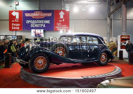 MOSCOW - MAR 07, 2016: Retro car on exhibition Oldtimer-Gallery in Sokolniki Exhibition Center. It is only one in Russia exhibition of vintage cars and technical antiques