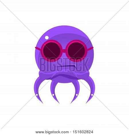 Sceptic Funny Octopus In Shades Emoji. Cute Vector Emoticon In Cartoon Childish Style Isolated On White Background.