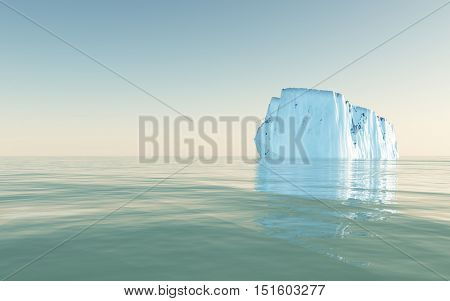 High Resolution Iceberg in open sea  3D Render