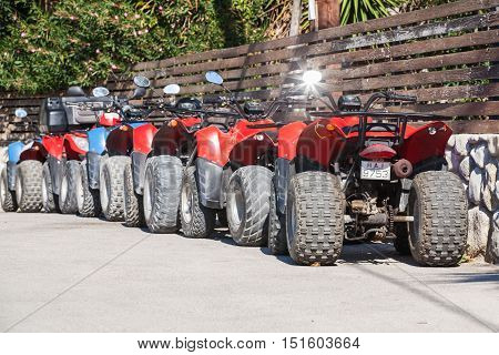 Red And Blue Atv Quad Bikes