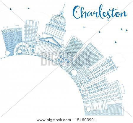 Outline Charleston Skyline with Blue Buildings and Copy Space. West Virginia. Vector Illustration. Business Travel and Tourism Concept with Modern Architecture. Image for Presentation Banner Placard.