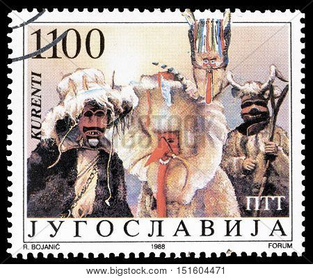 YUGOSLAVIA - CIRCA 1988 : Cancelled postage stamp printed by Yugoslavia, that shows Traditional masks.