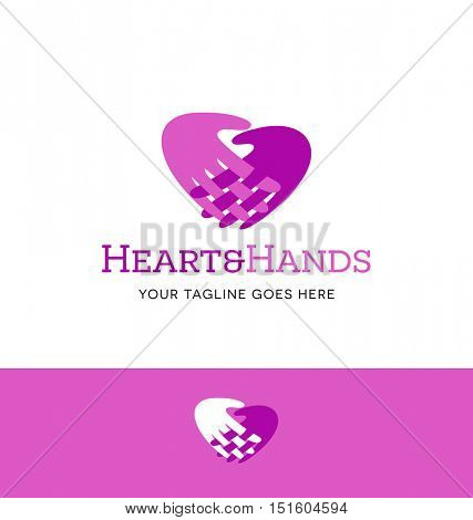 vector logo of 2 hands with fingers entwined forming heart shape