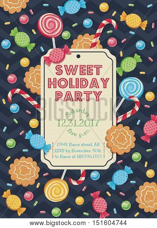 Vintage vector card with candies for parties or holidays