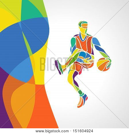 Abstract colorful pattern with Basketball Player. Summer color of athletic games - Green orange yellow blue for design advertising stock vector