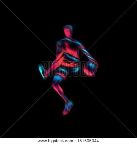 Basketball Player Slam Dunk Neon Glow Silhouette