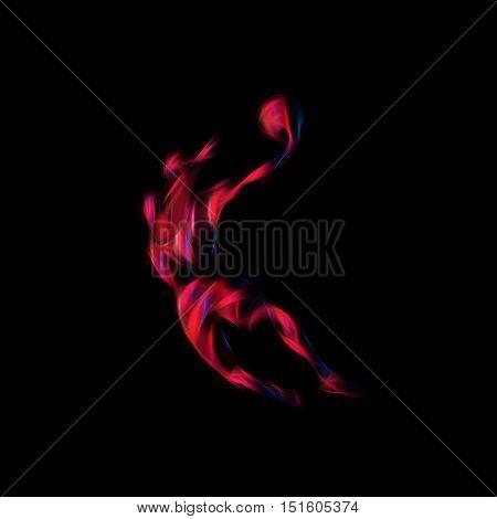 Basketball player Slam Dunk Neon Glow Silhouette. Creative illustration on black background
